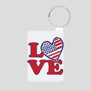 I Love the USA Keychains