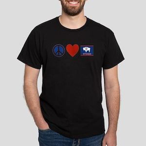 Peace Love Wyoming Dark T-Shirt