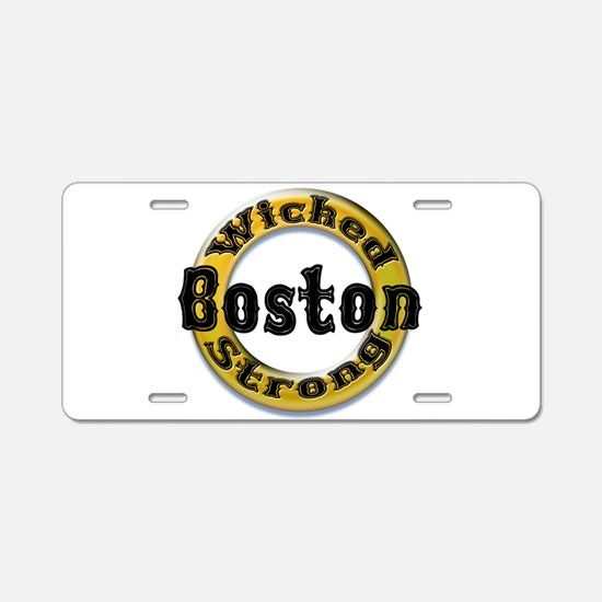 Wicked Strong Bruins Aluminum License Plate