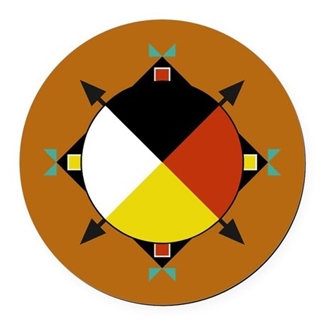 Cherokee Four Directions Round Car Magnet