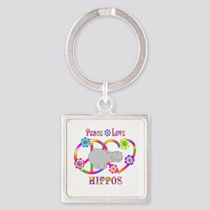 Peace Love Hippos Square Keychain