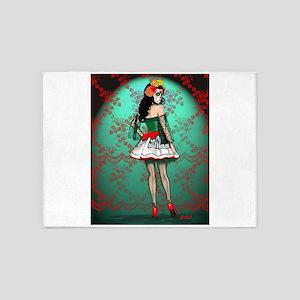 Dia De Los Muertos Stockings Pin-up 5'x7'Area Rug