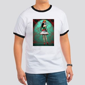 Dia De Los Muertos Stockings Pin-up T-Shirt