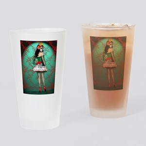 Dia De Los Muertos Stockings Pin-up Drinking Glass