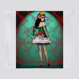 Dia De Los Muertos Stockings Pin-up Throw Blanket