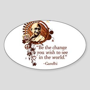 Funky Gandhi-Be the change... Sticker (Rectangular