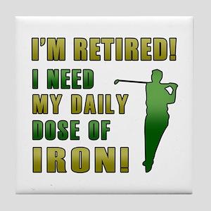 Funny Golfing Retirement Tile Coaster