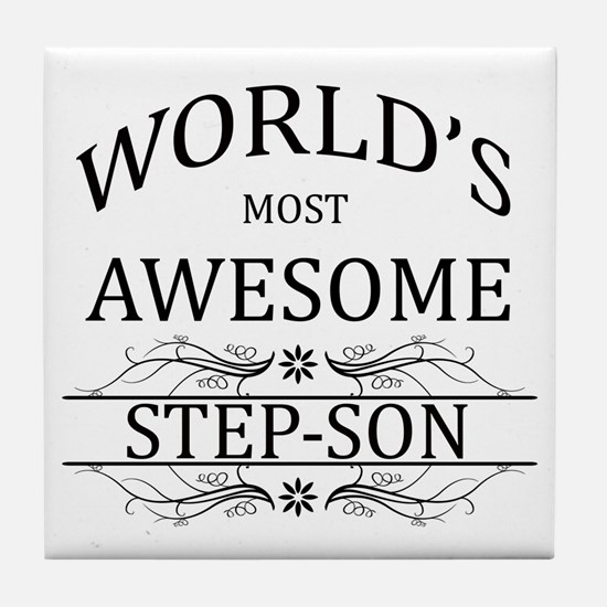 World's Most Awesome Step-Son Tile Coaster