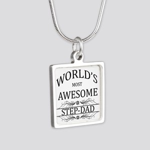 World's Most Awesome Step-Dad Silver Square Neckla