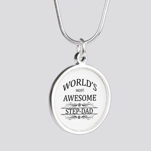 World's Most Awesome Step-Dad Silver Round Necklac