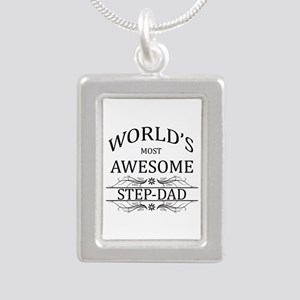 World's Most Awesome Step-Dad Silver Portrait Neck