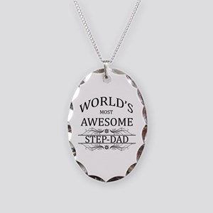 World's Most Awesome Step-Dad Necklace Oval Charm