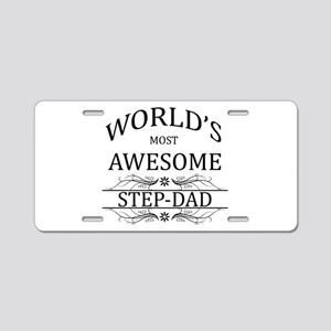 World's Most Awesome Step-Dad Aluminum License Pla