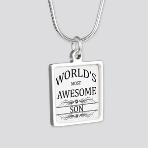 World's Most Awesome Son Silver Square Necklace