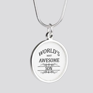 World's Most Awesome Son Silver Round Necklace