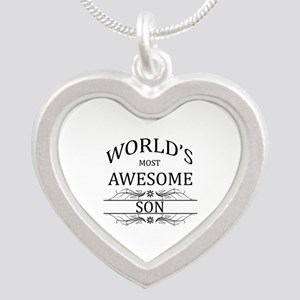 World's Most Awesome Son Silver Heart Necklace