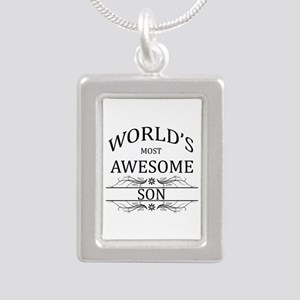 World's Most Awesome Son Silver Portrait Necklace