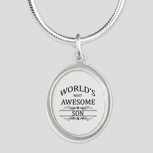 World's Most Awesome Son Silver Oval Necklace
