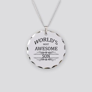 World's Most Awesome Son Necklace Circle Charm