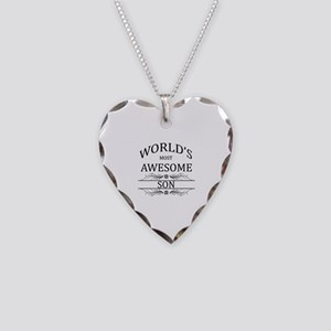 World's Most Awesome Son Necklace Heart Charm