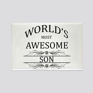 World's Most Awesome Son Rectangle Magnet
