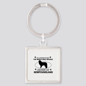 NewFoundland Dog breed designs Square Keychain