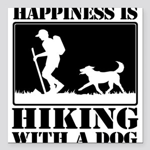 Happiness is Hiking with a Dog Square Car Magnet 3