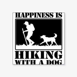 Happiness is Hiking with a Dog Sticker