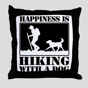 Happiness is Hiking with a Dog Throw Pillow
