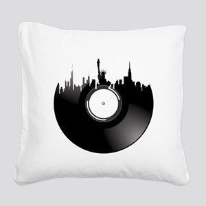 New York City Vinyl Record Square Canvas Pillow