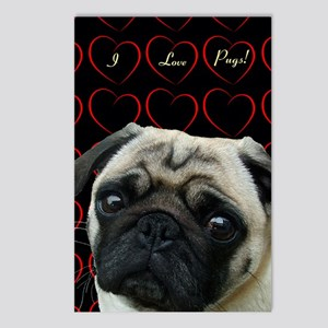 Cute I Love Pugs Postcards (Package of 8)
