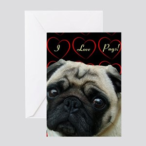 Cute I Love Pugs Greeting Card