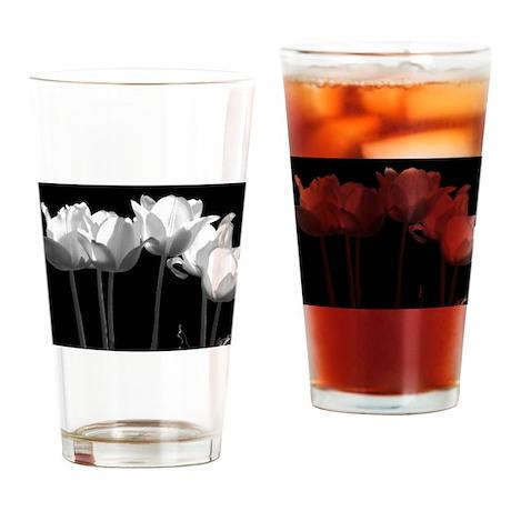Tulips, B&W Drinking Glass