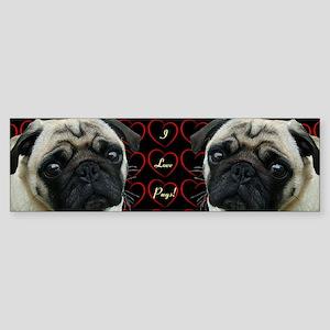 Cute I Love Pugs Bumper Sticker