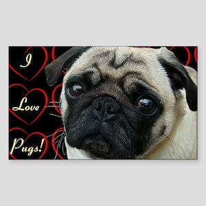 Cute I Love Pugs Sticker