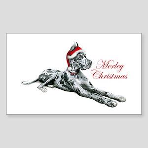 Great Dane Merley Christmas Rectangle Sticker