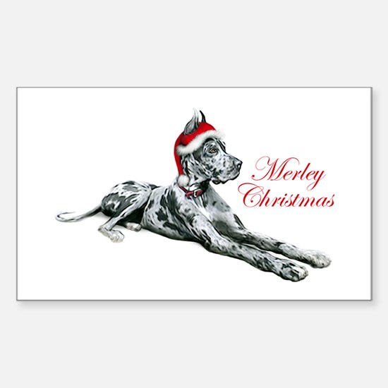 Great Dane Merley Christmas Rectangle Decal