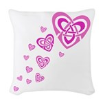 Pink Celtic Hearts Woven Throw Pillow