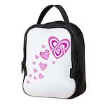 Pink Celtic Hearts Neoprene Lunch Bag