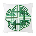 Celtic Four Leaf Clover Woven Throw Pillow