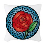 Celtic Rose Stained Glass Woven Throw Pillow