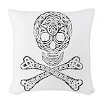 Celtic Skull and Crossbones Woven Throw Pillow