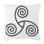 Celtic Triple Spiral Woven Throw Pillow