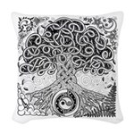 Celtic Tree of Life Ink Woven Throw Pillow