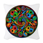 Celtic Stained Glass Spiral Woven Throw Pillow