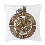 Celtic Cat and Dog Woven Throw Pillow