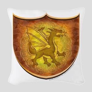 Copper Dragon Shield Woven Throw Pillow