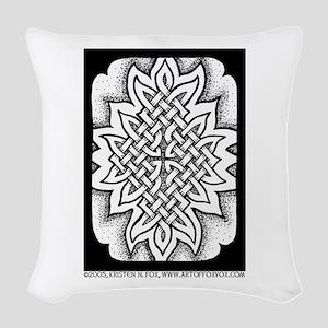 Celtic Knotwork Afire Woven Throw Pillow