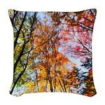 Autumn Trees Oil Painting Woven Throw Pillow