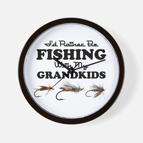 Rather Be Fishing Grandkids Wall Clock